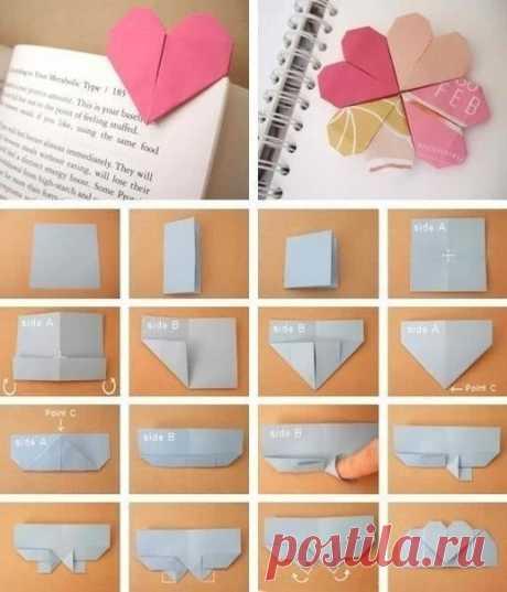 Закладки-оригами — Сделай сам, идеи для творчества - DIY Ideas