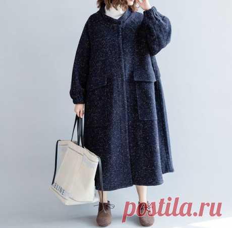 Navy blue women's long Wool coat winter coat long | Etsy