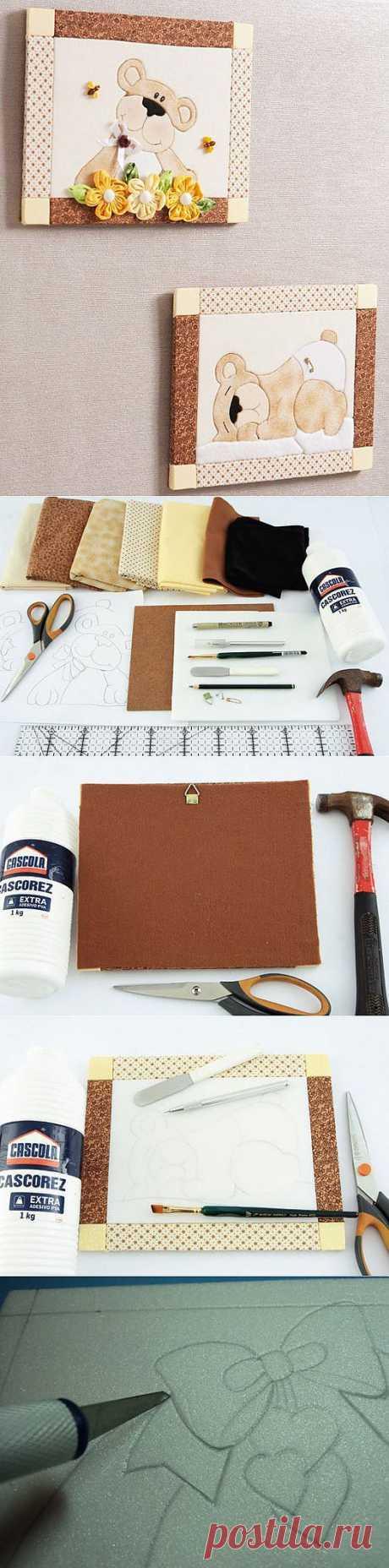 Поделки своими руками - Картины из ткани на пенопласте мастер-класс