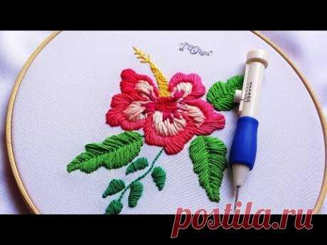 Bordado Mágico: Flor de Cayena | Punch Needle Flower Embroidery