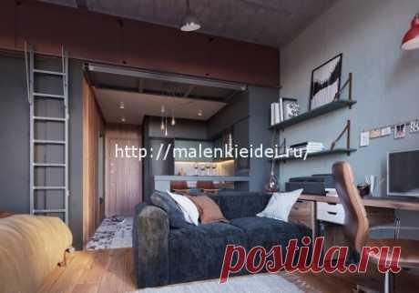 Стильный мужской интерьер квартиры студии