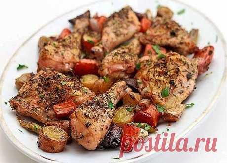 Как приготовить запеченная курица с овощами - рецепт, ингридиенты и фотографии