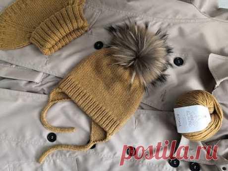 Идеальная вязаная детская шапка//шапка с ушками и завязками.