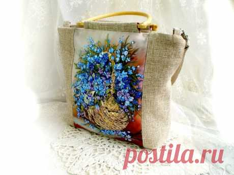 Bag handmade, white  original bag, shoulder bag with flower,  Ribbon embroidery bag, embroidered flower handbag, women bag,  basket,textile Bag embroidered with ribbons-an original addition to your summer outfit. The bag is made of velvet, the color is black, dense and holds its shape well. Embroidery in the technique of application. All colors are tinted by hand, paints for fabric batik products do not fade. Zip closure.