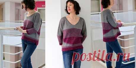 Вязаный спицами свободный пуловер с графичными полосами