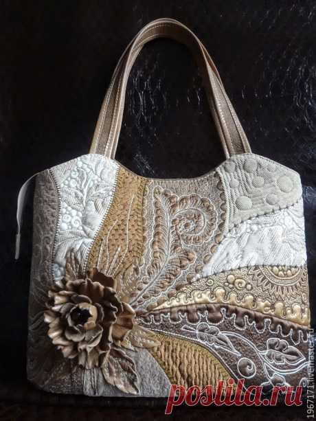 """Купить сумка """"Арабика """" - бежевый, лоскутная сумка, стеганная сумка, сумка с кожаным цветком"""