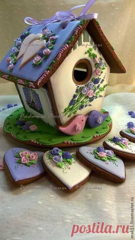 """Пряничный домик """"Свадьба в Провансе"""" - васильковый,пряничный домик,пряники"""