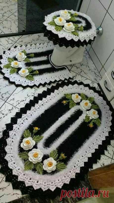 Нереальная красота. Вязаные чехлы и коврики для туалета