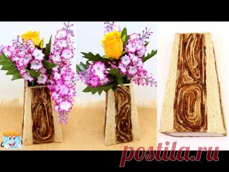 Как сделать деревянную вазу из джута и картона Поделки своими руками