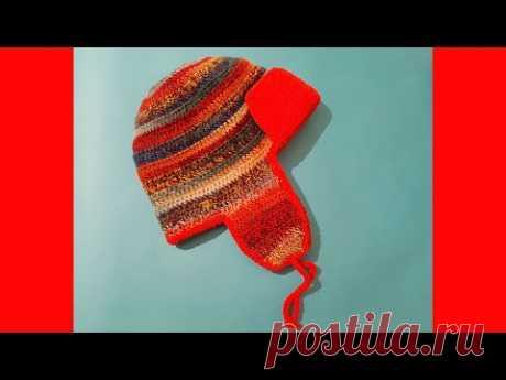 Шапка ушанка крючком. Crochet hat with earflaps.