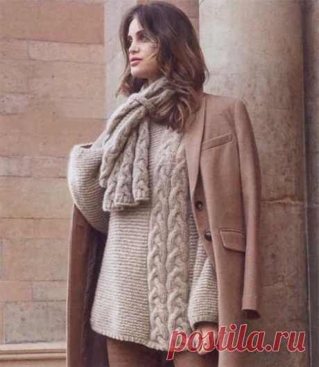 Пуловер и шарф из «кос» - Вязаные модели спицами для женщин