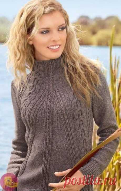 Удлиненный пуловер с косами — Сделай сам, идеи для творчества - DIY Ideas