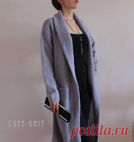 Купить Вязаный кардиган серый с шалевым воротником - серый, кардиган, пальто, длинный вязаный кардиган. Купить длинный кардиган вязаный - пальто длинное женское серого цвета.