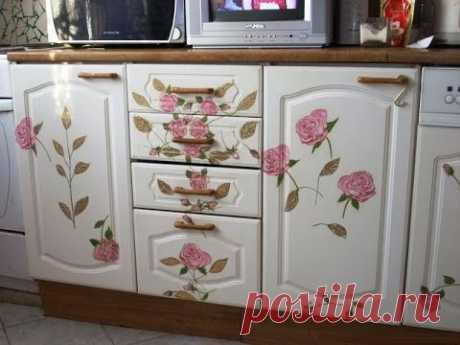 Декупаж кухонной мебели, шкафов и полок