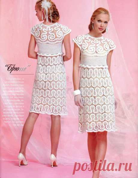 Белое платье в технике Бюргерское кружево. Платье связано в технике брюггского кружева |