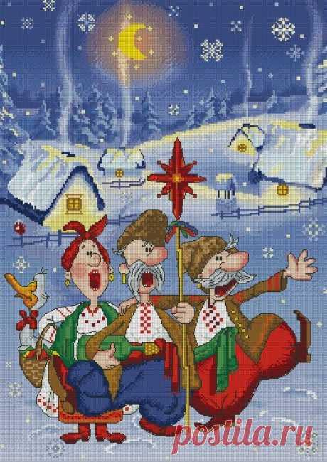 El bordado la Navidad del esquema. El bordado navideño por la cruz del esquema | Mí el Ama