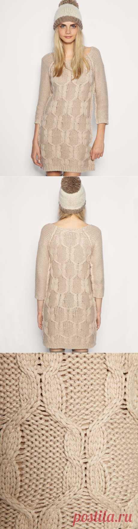 бежевое платье (идея для вязания).