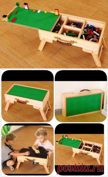 LEGO чемодан + складные ножки+ полотно  Мобильное и компактное решение для конструктора LEGO – деревянный чемодан с отсеками для деталей разных размеров и цветов. Сдвигающаяся крышка может служить игровой зоной, которую покрывают специальным полотном.     Другие положительные моменты: