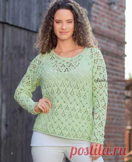 Лаймовый пуловер на лето Лаймовый пуловер на лето крючком. Летний пуловер ажурным узором Пряжа (55% натуральной шерсти, 45% хлопка; 130 м/50 г) – 550 (600) г цв. лайма; крючок №3,5.…