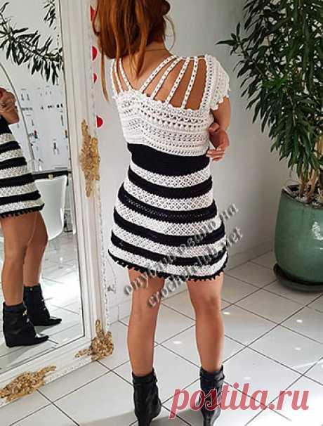 Полосатое платье Ванессы Монторо - Вязание Крючком. Блог Настика