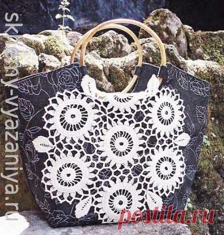 Декор для сумки из цветочных мотивов - схема с описанием (Схемы-Вязания.ру)