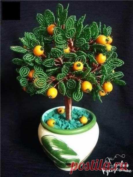 Апельсиновое деревце из бисера и проволоки — Сделай сам, идеи для творчества - DIY Ideas