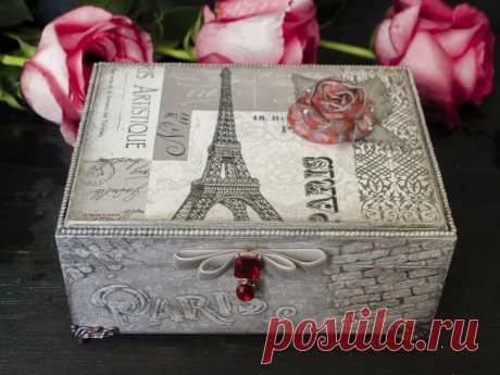 Декорируем шкатулку «Любовь к Парижу» Со слов автора.В этом мастер-классе я покажу процесс изготовления шкатулки с французскими мотивами.Обожаю Францию, Париж и все, что с ними связано, и захотелось, шкатулка выглядела как напоминание о...