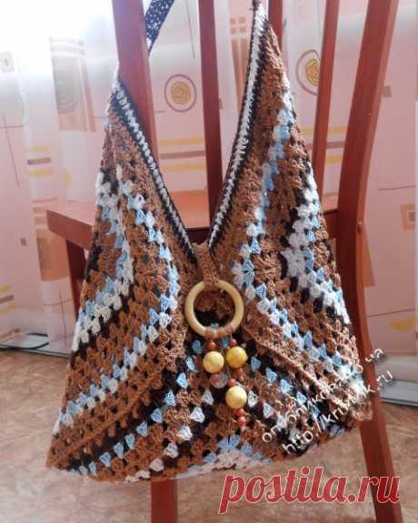 Авторская сумка, связанная крючком. Схема сумки и описание