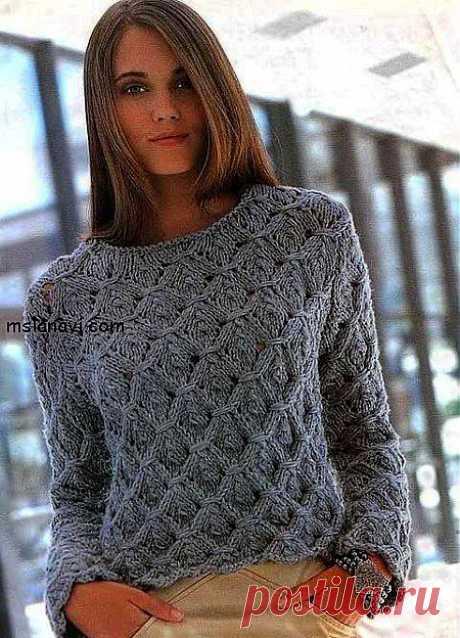 Как связать женский свитер с фантазийным узором | Вяжем с Ланой