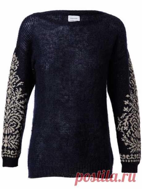 Жаккардовый узор на рукавах схема. Схема жаккардового узора для свитера. |