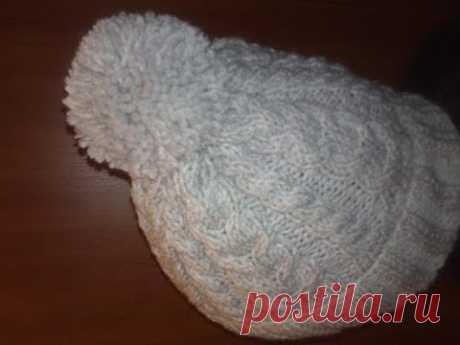 Женская зимняя шапка+мастер класс+полное описание.Мастер класс шапка.Шапка спицами +с описанием