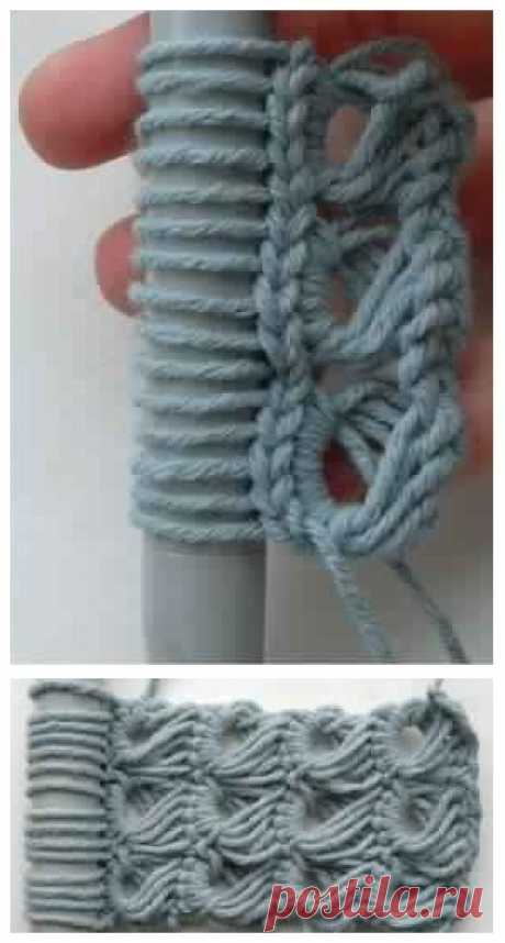 Как вязать в технике брумстик или перуанское вязание? Мастер-классы Брумстик - это техника вязания крючком в комбинации с очень толстой спицей. Если спицы нет, то подойдет любой другой предмет на замену: толстый карандаш, линейка, шпатель.