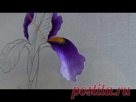 Hand embroidery苏绣(苏州刺绣针法教程) 両面刺繍Iris(1)