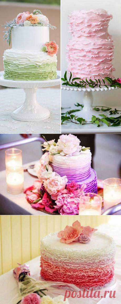 Красивые свадебные торты с рюшами и оборками