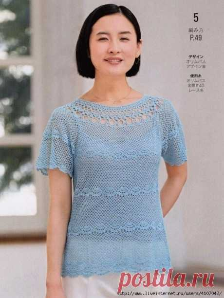 GENTLY BLUE SUMMER OPENWORK JUMPER WITH THE ROUND COQUETTE. HOOK