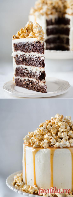 Elena Demyanko: Chocolate cake with caramel popcorn \/ Chocolate cake with caramel popcorn