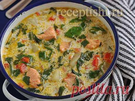 Сырный суп с форелью и шпинатом | Кулинарные рецепты с фото на Рецептыши.ру