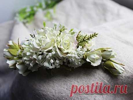 Создаем свадебный гребень с розами - Ярмарка Мастеров - ручная работа, handmade