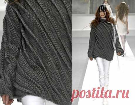 Длинный серый свитер спицами от NINA RICCI