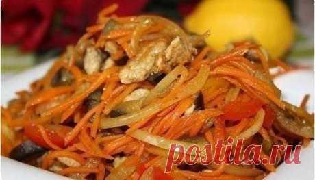 Салат из баклажанов с мясом и болгарским перцем