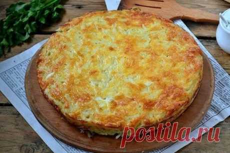 Запеканка из тертого картофеля с сыром и чесноком😊