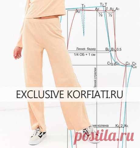 Выкройка трикотажных брюк от Анастасии Корфиати Выкройка трикотажных брюк. Простая выкройка трикотажных брюк на резинке. По ней вы можете шить разнообразные фасоны трикотажных брюк. Трикотажная одежда