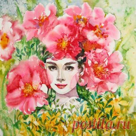акварель..женский портрет