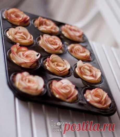 Яблоки-розы. Можно использовать для украшения пирогов, пирожных или подавать как отдельное блюдо