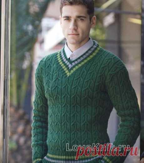 Мужской зеленый пуловер схема Для мужчин » Люблю Вязать