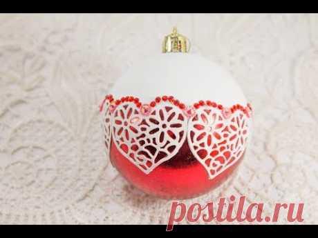 #57 декор новогодних елочных шаров своими руками