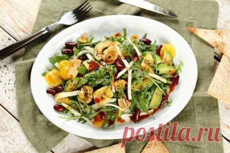 Салат с черной фасолью и авокадо – пошаговый рецепт с фото.