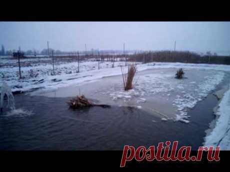 искусственный водоем зимой: рыбе не хватает воздуха!