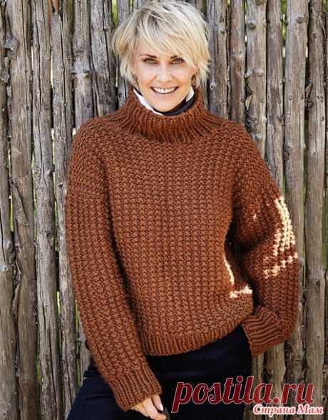 Теплый свитер со структурным узором - Вязание - Страна Мам
