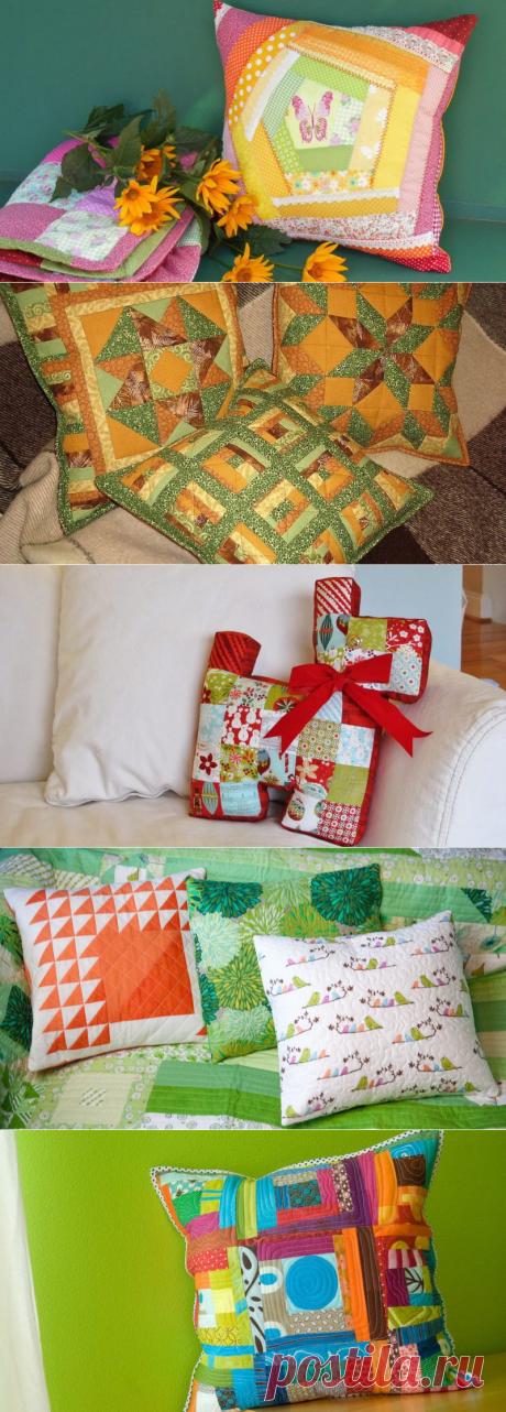 Лоскутное разнообразие, радующее глаз — декоративные подушки в технике пэчворк — HandMade